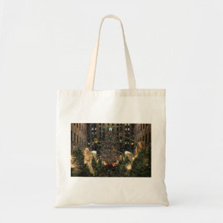 NYC Rockefeller Center Xmas Tree Falling Snow Budget Tote Bag