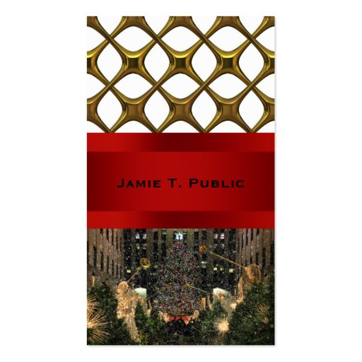 NYC Rockefeller Center Xmas Tree Falling Snow Double-Sided Standard Business Cards (Pack Of 100)