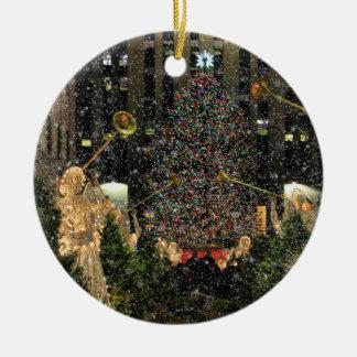 NYC Rockefeller Center Xmas Tree Falling Snow Ceramic Ornament