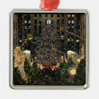 NYC Rockefeller Center Xmas Tree Falling Snow Square Metal Christmas Ornament