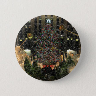 NYC Rockefeller Center Xmas Tree Falling Snow Pinback Button