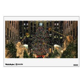 NYC Rockefeller Center Xmas Tree Falling Snow Wall Sticker