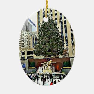 NYC Rockefeller Tree Skating Rink Christmas Ceramic Ornament