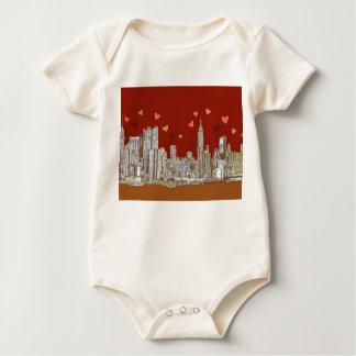 NYC romantic red Baby Bodysuit