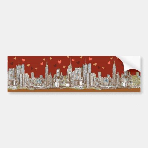 NYC romantic red Bumper Sticker