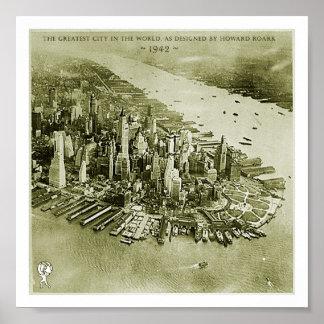 NYC, según lo diseñado por Howard Roark Posters