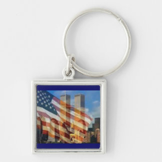 NYC Silver-Colored SQUARE KEYCHAIN