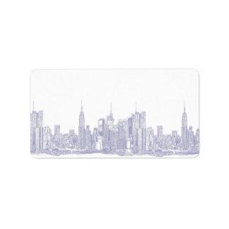 NYC sketch in light blue Custom Address Labels