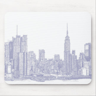 NYC sketch in light blue Mouse Pad