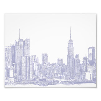 NYC sketch in light blue Photo Print