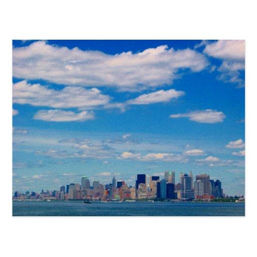 nyc sky line postcard