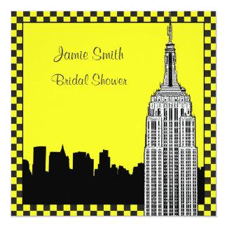 NYC Skyline2 Etched ESB Checkrd Taxi Bridal Shower Card