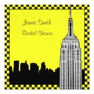 NYC Skyline2 Etched ESB Checkrd Taxi Bridal Shower Invitations