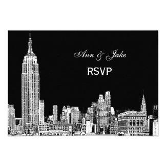 NYC Skyline 01 Etchd DIY BG Color RSVP 2 Invitation