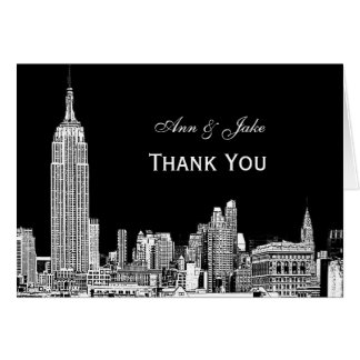 NYC Skyline 01 Etchd DIY BG Color Thank You Stationery Note Card