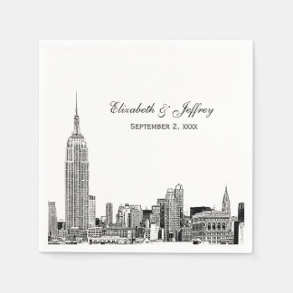 NYC Skyline 01 Etchd DIY BG Color Wedding Napkin
