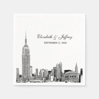 NYC Skyline 01 Etchd DIY BG Color Wedding Paper Napkin