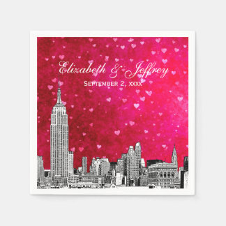 NYC Skyline 01 Etchd Hot Pink Red Hrt Disposable Napkin