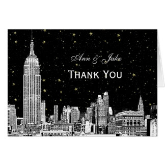 NYC Skyline 01 Etchd Starry DIY BG Color Thank You Stationery Note Card