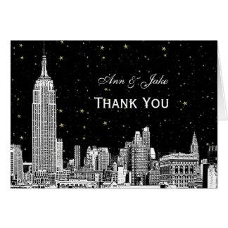 NYC Skyline 01 Etchd Starry DIY BG Color Thank You Card
