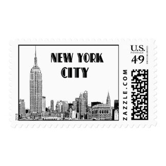 NYC Skyline 01 Etched Art Deco Text Postage Stamp