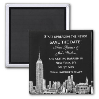 NYC Skyline 01 Etched DIY BG Color Save the Date 2 Inch Square Magnet