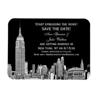 NYC Skyline 01 Etched DIY BG Color Save the Date Magnet