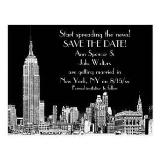 NYC Skyline 01 Etched DIY BG Color Save the Date Postcard