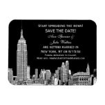 NYC Skyline 01 Etched DIY BG Color Save the Date Rectangle Magnet