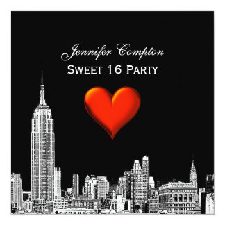NYC Skyline 01 Etched DIY BG Color SQ Sweet 16 Announcements