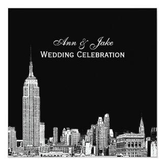 NYC Skyline 01 Etched DIY BG Color SQ Wedding Card