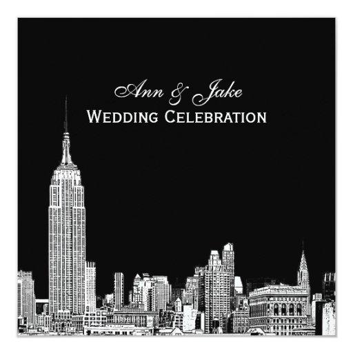 Nyc skyline 01 etched diy bg color sq wedding invitation for Wedding invitation companies nyc