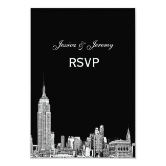 NYC Skyline 01 Etched RSVP #1 With Menu Card
