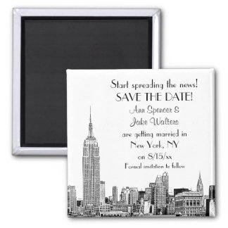 NYC Skyline 01 Etched Save the Date 2 Inch Square Magnet