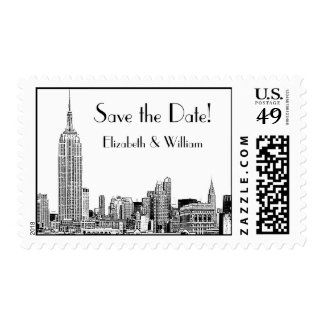 NYC Skyline 01 Etched Save the Date Postage