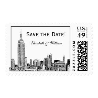 NYC Skyline 01 Etched Save the Date Postage Stamp