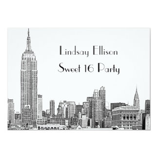 NYC Skyline 01 Etched Sweet 16 Party 5x7 Paper Invitation Card