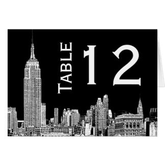 NYC Skyline 01 Etched Table Number Card Note Card