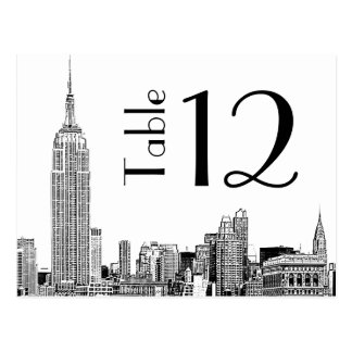 NYC Skyline 01 Etched Table Number Card