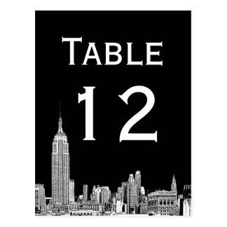 NYC Skyline 01 Etched Table Number Card Postcard