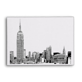 NYC Skyline 01 Etched White A6 for 6x4 Envelope