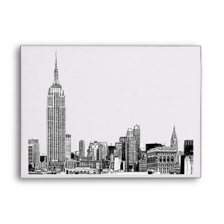 NYC Skyline 01 Etched White A7 5x7 Envelope