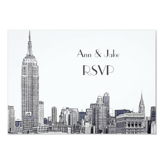NYC Skyline 01 Etched White RSVP #2 Card