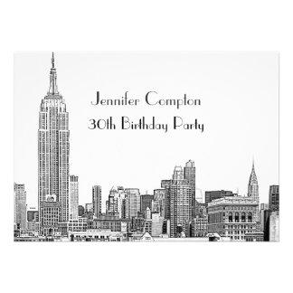 NYC Skyline 01 Etched Wht Birthday Party Custom Invites