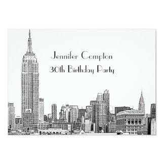 NYC Skyline 01 Etched Wht Birthday Party 5x7 Paper Invitation Card