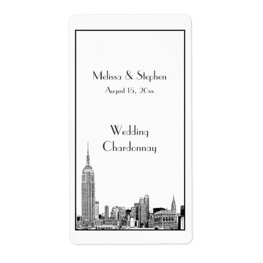 NYC Skyline 01 Etched  Wine Label