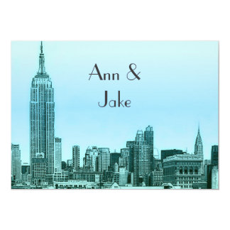 NYC Skyline 01 Teal Etched Wedding Invite 2