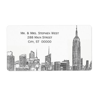 NYC Skyline 01A Etched Address Label