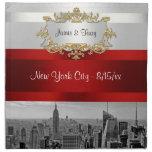 NYC Skyline 05: White, Red Cloth Napkins