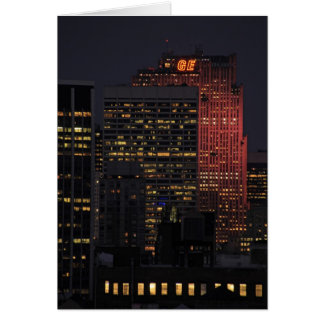 NYC Skyline: 30 Rock Lit Up in Pink Greeting Card